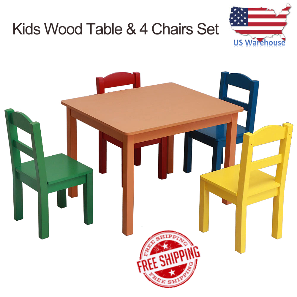 Cool Details About Kids Table 4 Chairs Set For Toddlers And Preschool Aged Children Multi Color Lamtechconsult Wood Chair Design Ideas Lamtechconsultcom