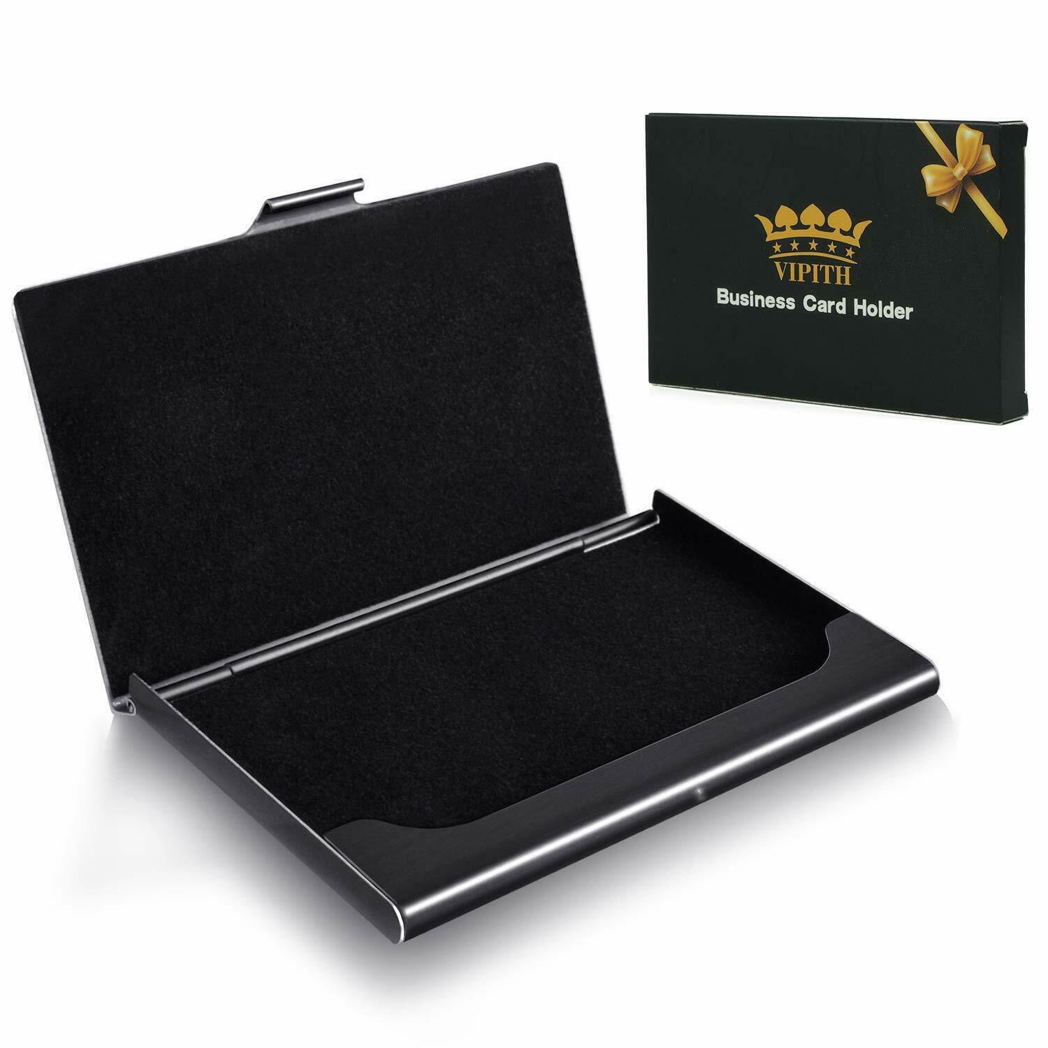 WOVTE Super Light Business Card Holder Stainless Steel Business Card Case-Black
