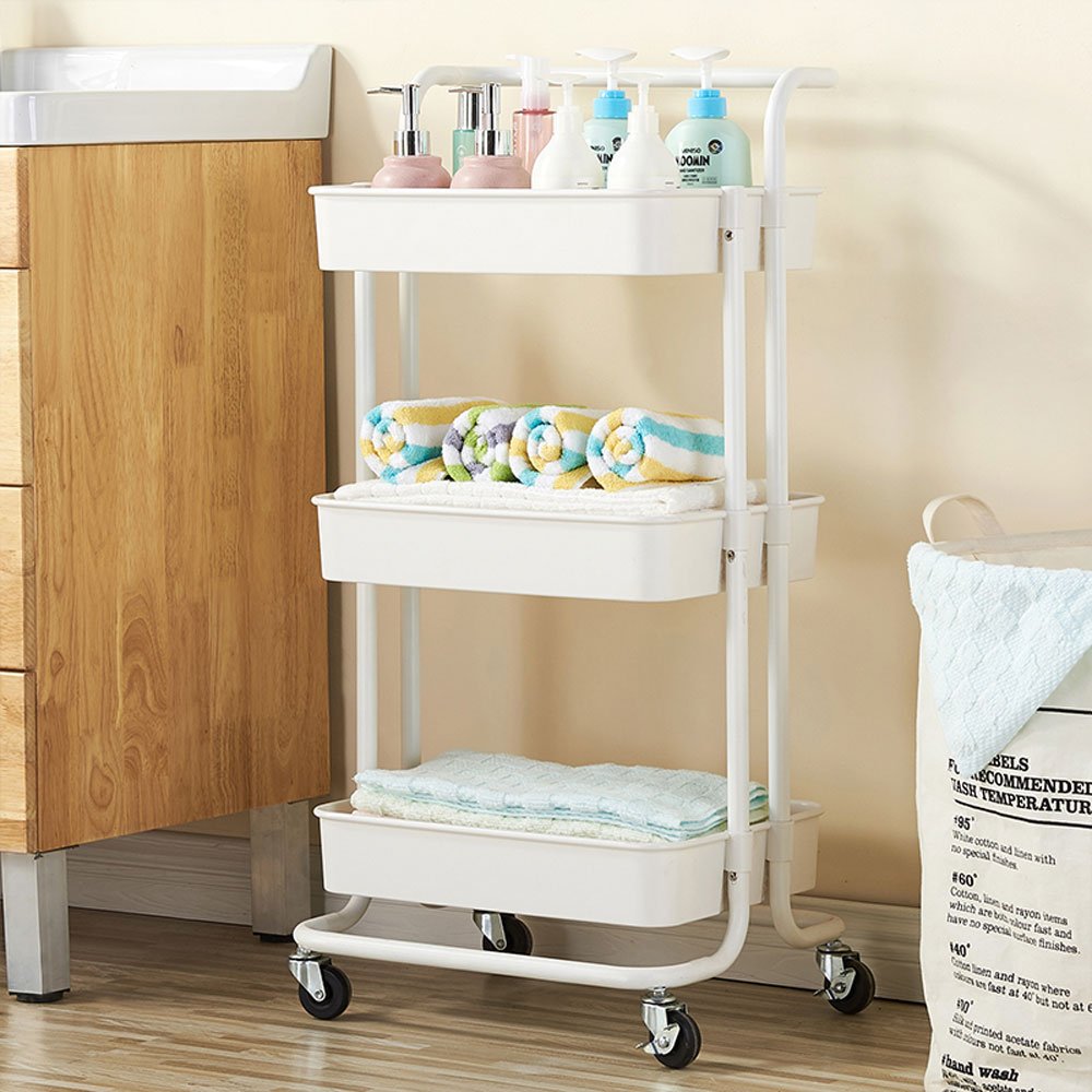 3-Tier Rolling Cart Storage Shelves Trolley with Wheels ...