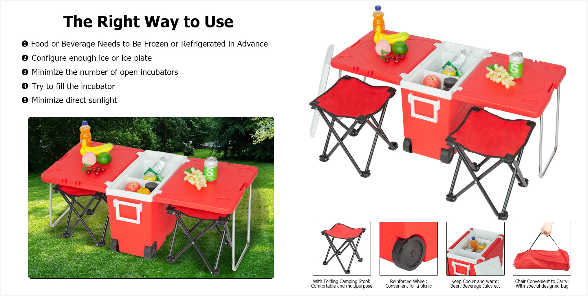 95450292f426 Details about Outdoor Picnic Foldable Table Multi-function Rolling Cooler  Upgraded Stool