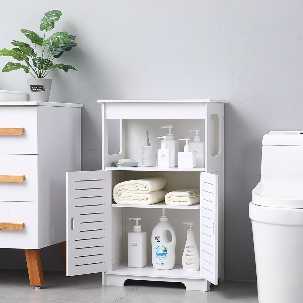 Double Door & Compartment Bathroom Floor Cabinet Storage ...