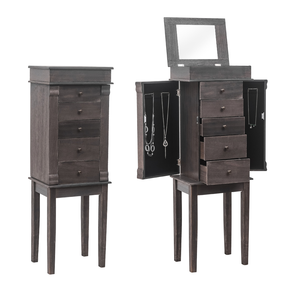 Standing Jewelry Armoire with Mirror and 5 Drawers Jewelry ...